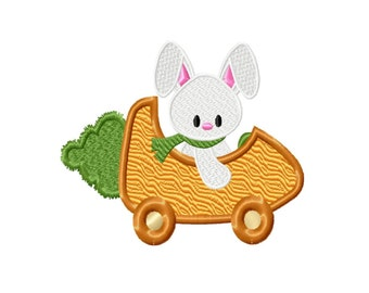 Bunny Cart Fill Machine Embroidery DESIGN NO. 271