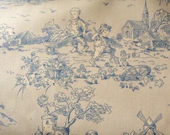 Blue Toile on Pin Stripe ground Cotton Fabric