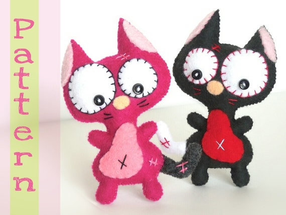 Mini cat pdf sewing patterns cute cat toyhandmade plush for Felt cat toys diy
