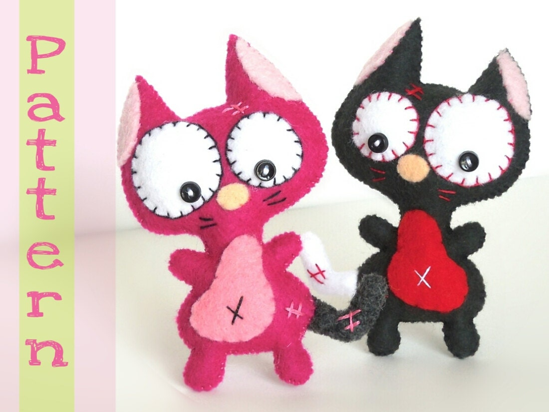 Mini cat pdf sewing patterns cute cat toy handmade plush for Felt cat toys diy