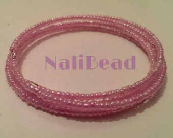 Pink beaded spiral wire bracelet