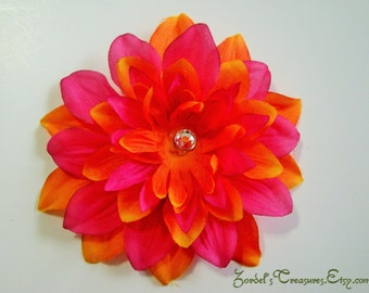 Pink and Orange Flower Hair Clip - One Size - #187