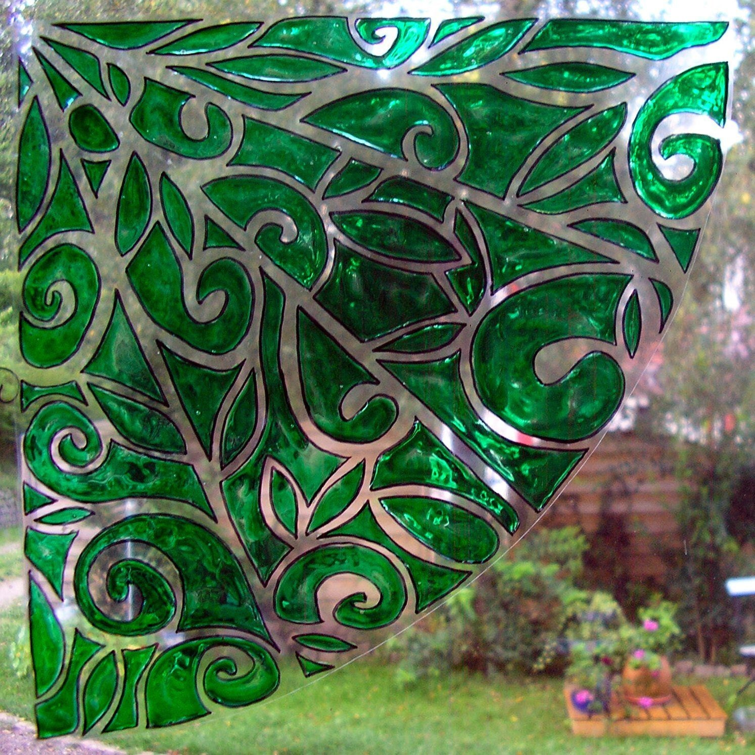 wicoart sticker window cling stained glass vitrail green. Black Bedroom Furniture Sets. Home Design Ideas