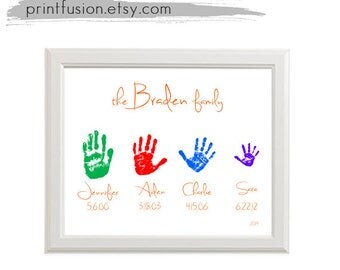 Sale Personalized Kids Handprint Family Name Wall Art Chalkboard. Custom Colors and FontPrintable DIY PDF gift