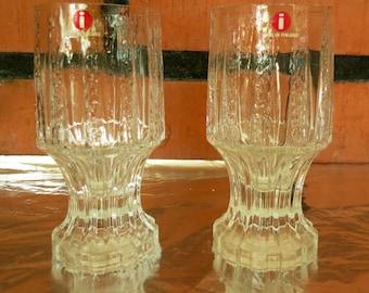 Iittala Nuutajärvi Valto Kokko Vellamo Vintage Clear Glasses(2).