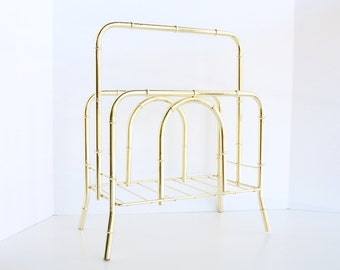 Vintage Faux Bamboo Brass Magazine Rack