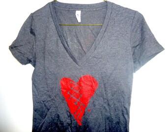 Blackbox-Girls Gray Heart V Neck Baby Doll T Shirt
