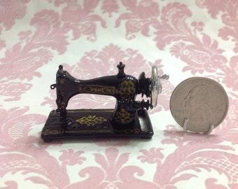 Dollhouse Miniature Vintage Black Heavy Metal Sewing Machine