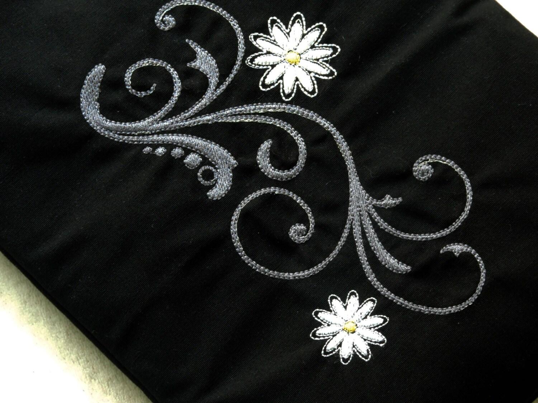 Modern flowers embroidery design swirls