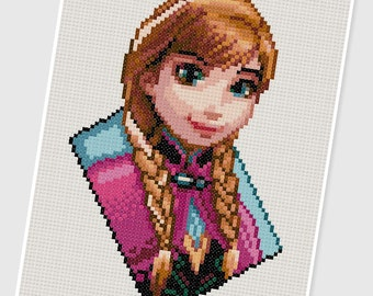 PDF Cross Stitch pattern - 0213.Princess Anna (Frozen) - INSTANT DOWNLOAD