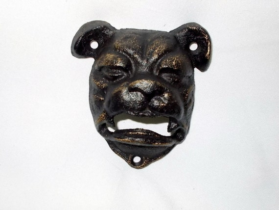 Cast iron bulldog bottle opener wall mounted by furfinfeathers - Bull bottle opener ...