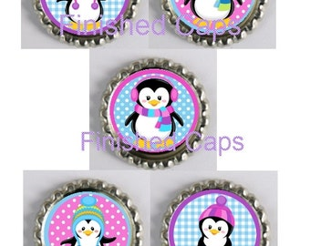 5 Winter Themed Penguins Finished Bottle Caps-your choice of colour