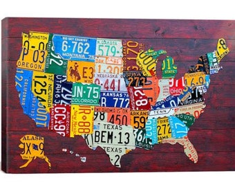 License Plate Map USA Canvas Print | Gallery Framed | 20% off SALE at Checkout Use Coupon Code: FEB20A