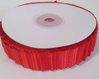 "7/8"" Double Face Satin Pleated Ribbon - Red - 10 Yards"
