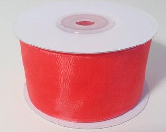 Sheer Organza Ribbon - Coral - 25 Yards