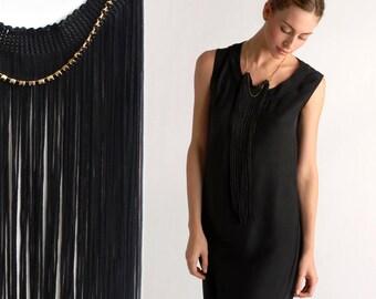 Black Fringe Statement Necklace, Black Necklace, Long Fringe Necklace, Elegant Necklace