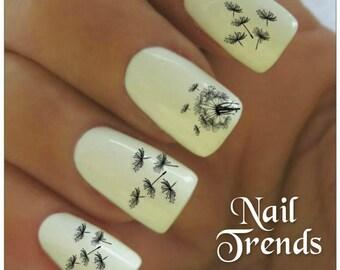 Dandelion Nail Decal 20  Vinyl Adhesive Decals Nail Tattoos  Nail Art