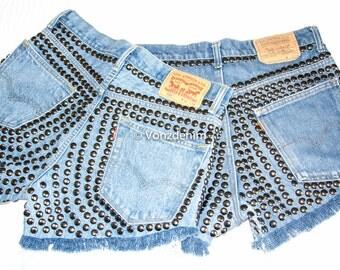 High Waisted Studded Shorts, Vintage Denim Shorts, High Rised Frayed Denim Shorts, Coachella Fashion, Blue Denim Shorts