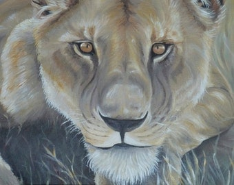 Lioness Original Acrylic Painting on Deep Canvas 30x60cm by Sarah Wake