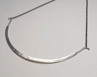 Long Crescent silver necklace