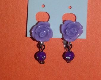 Resin Rose Earrings (Clip on or Pierced)