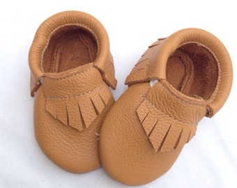 Butterscotch Leather Baby Toddler Moccasins Moccs