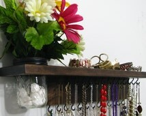 Necklace Storage Organizer with shelf and wall vase