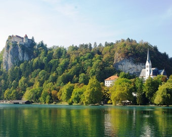 Picturesque Castle and Church, Lake Bled, Slovenia