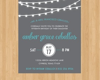 String Lights Birthday Invite | Personalizable with text and colors!