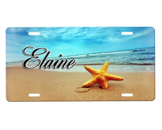 Beach Scene License Plate By Onestopairbrushshop On Etsy