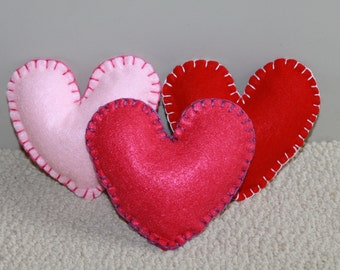 Stuffed Felt Hearts - set of 3