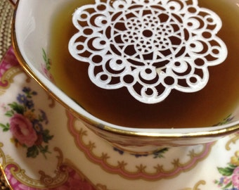 "24 Sugar Doilies 2.5"" Edible Aztec Doily Tea or Coffee Doilies Wedding Reception Bridal Party"