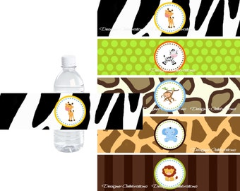 Wild Safari Water Bottle Labels - INSTANT DOWNLOWD - DIY Printable Birthday, Baby Shower Digital File