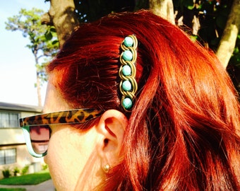 Bronze chain and teal hair comb