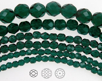 6mm (68pcs) Dark Emerald, Czech Fire Polished Round Faceted Glass Beads, 16 inch strand