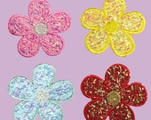 Self Adhesive Patch Pink Yellow Blue Red Iridescent Daisy Flower Sticker Iron On Motif Applique (sold by piece) CF-SparklyFlower
