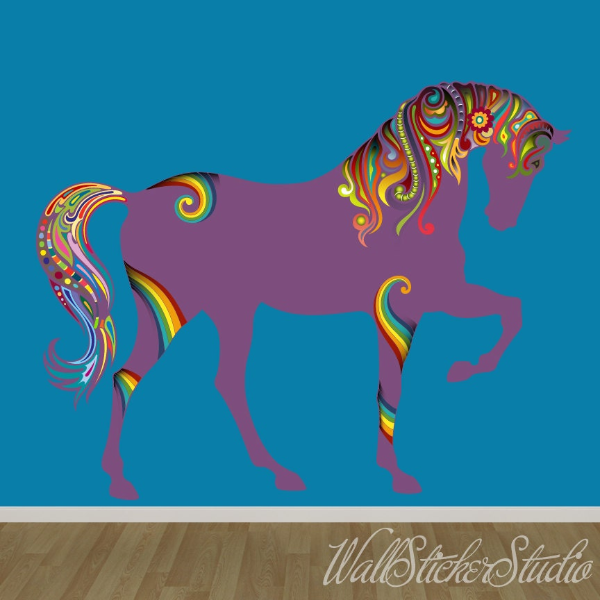 Sticker design studio create your own custom stickers - Horse Decal Pattern Rainbow Horse Fabric Wall Decal Stickers