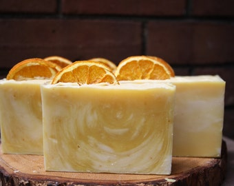 Sweet Orange and Honey Swirl Cold Process Soap -Organic Honey - 100% Natural - Environmentally Sound