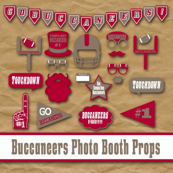 Tampa Bay Buccaneers Football Printable Photo Booth Props