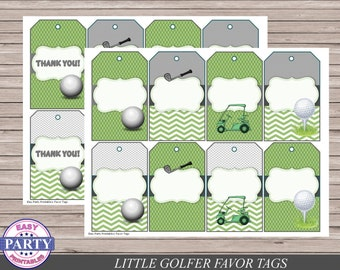 Golf Party favor tags, Instant Download, gift tags, green, golf party, 8 per page, golf cart, golf ball, little golfer, boy birthd