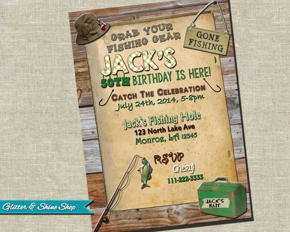 Unavailable listing on etsy for Fishing birthday party invitations