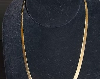 Sterling Silver Gold Tone Herringbone Necklace Made By Danecraft 13.21g #E739