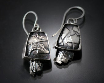 """Sterling Silver Earrings   silver earrings   sterling earrings   Fashion jewelry earrings  """"Fused and Forged  Square"""" Earrings"""