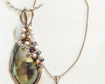 Pendant: Mabe and Mother of Pearl Wire-wrapped