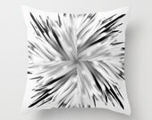 Abstract Flower Cushion Cover - Black and White Flower Pillow Case - Silver Gray Pillow Accent Pillow -Throw Pillow