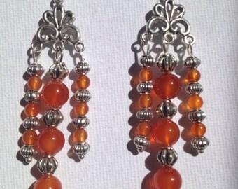 Orange Agate beads and Tibetan silver Earrings