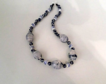 "Blue and White Porcelain Necklace. Large chunky ovals, Striped and Floral Beads, and Sterling Silver. 24"". Spectacular Necklace"