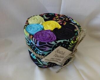 Black & Turquios Multi Batik Roll  Fabric 520