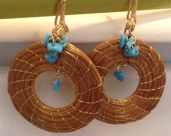Golden Grass earrings made with Blue Turquoise beads -