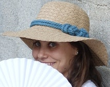 Sun hat , Women's wide brim hat , Mocca hat decorated with a sailor rope & a nautical knot.